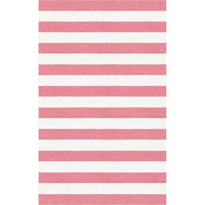 Freyler Stripe Hand-Tufted Wool Pink/White Area Rug Rug Size: Rectangle 5 x 8