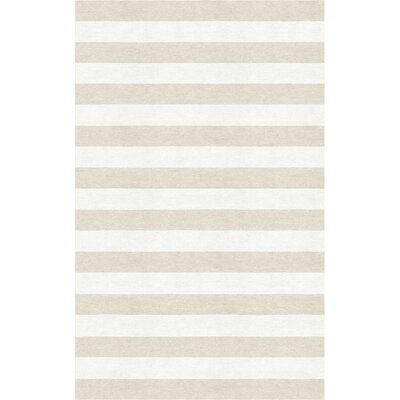 Bathory Stripe Hand-Tufted Wool Silver/White Area Rug Rug Size: Rectangle 6 x 9