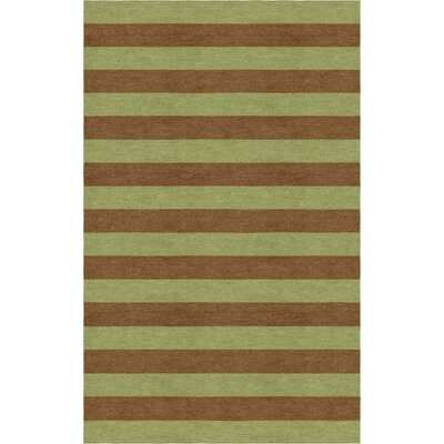 Shoemake Stripe Hand-Tufted Wool Olive/Brown Area Rug Rug Size: Rectangle 6 x 9