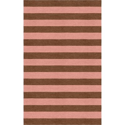 Kunavich-Siligato Stripe Hand-Tufted Wool Brown/Peach Area Rug Rug Size: Rectangle 5 x 8