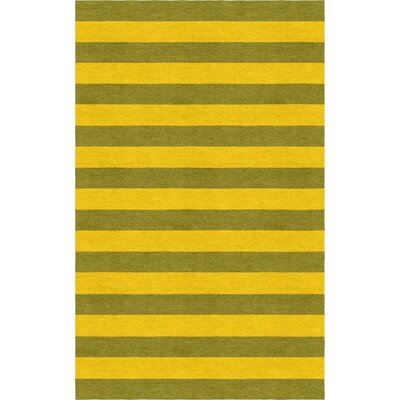 Thuc Stripe Hand-Tufted Wool Olive Green/Gold Area Rug Rug Size: Rectangle 5 x 8