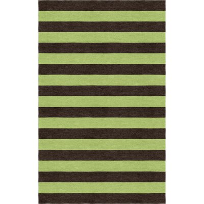 Suggs Stripe Hand-Tufted Wool Brown/Green Area Rug Rug Size: Rectangle 5 x 8