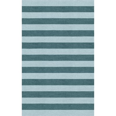 Lastra Stripe Hand-Tufted Wool Light Blue/Gray Area Rug Rug Size: Rectangle 6 x 9