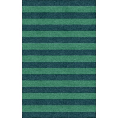 Faasulu Stripe Hand-Tufted Wool Green/Teal Area Rug Rug Size: Rectangle 9' x 12'