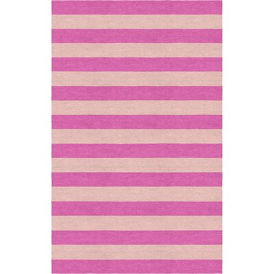 Catumba Stripe Hand-Tufted Wool Pink/Peach Area Rug Rug Size: Rectangle 6 x 9