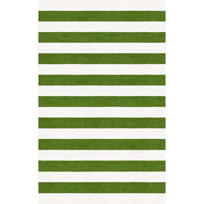 Serlin Stripe Hand-Tufted Wool White/Green Area Rug Rug Size: Rectangle 5 x 8