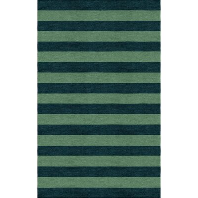 Roeger Stripe Hand-Tufted Wool Green/Dark Green Area Rug Rug Size: Rectangle 9 x 12