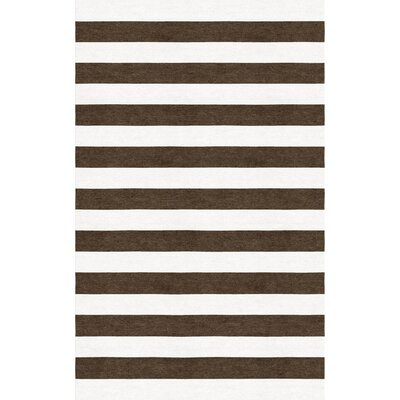 Nigam Stripe Hand-Tufted Wool Brown/White Area Rug Rug Size: Rectangle 6 x 9