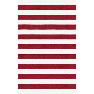 Granham Stripe Hand-Tufted Wool Wine Red/White Area Rug Rug Size: Rectangle 6 x 9