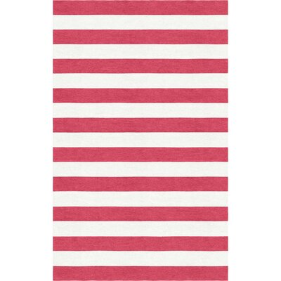 Rauseo Stripe Hand-Tufted Wool Red/White Area Rug Rug Size: Rectangle 5 x 8