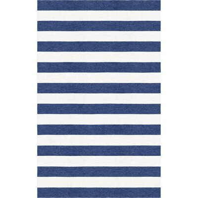 Helbig Stripe Hand-Tufted Wool Navy Blue/White Area Rug Rug Size: Rectangle 8 x 10