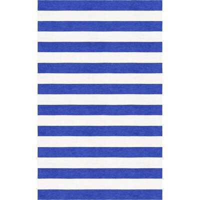Hentish Stripe Hand-Tufted Wool Blue/White Area Rug Rug Size: Rectangle 6 x 9