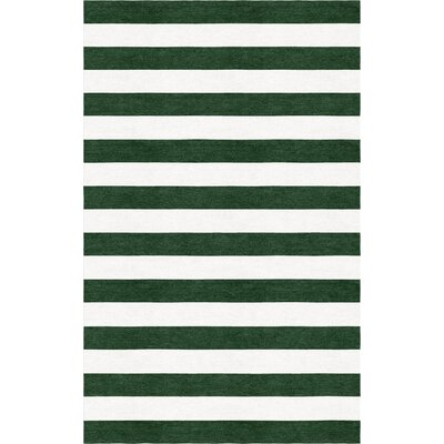 Brazzell Stripe Hand-Tufted Wool Dark Green/White Area Rug Rug Size: Rectangle 8 x 10