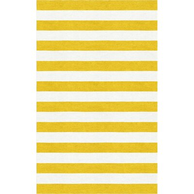 LeClerc Stripe Hand-Tufted Wool Gold/White Area Rug Rug Size: Rectangle 5 x 8