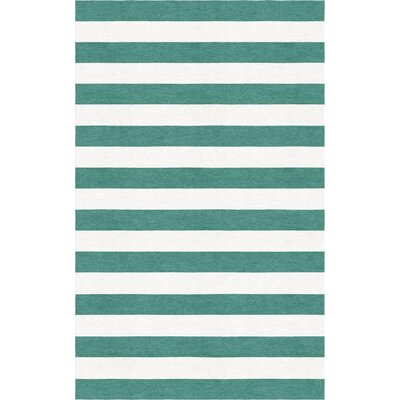 Shappee Stripe Hand-Tufted Wool Teal/White Area Rug Rug Size: Rectangle 9' x 12'