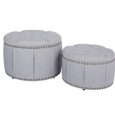 Kardos 2 Piece Storage Ottoman Upholstery: Dove