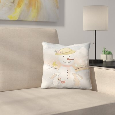 Snow Woman In Winter Forest With Animal Friends Throw Pillow Size: 18 x 18