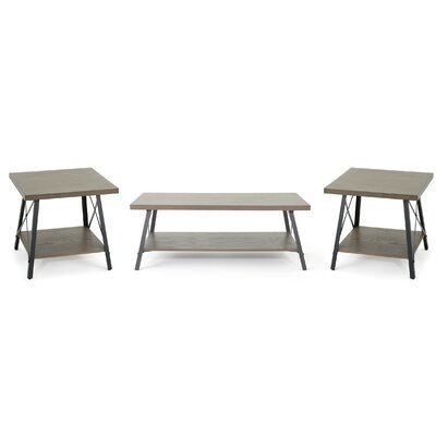 Ellefson 3 Piece Coffee and End Table Set Color: Gray