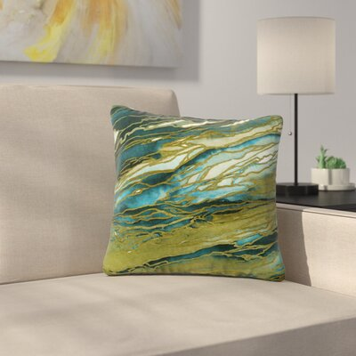 Agate Magic Throw Pillow Size: 26 H x 26 W x 7 D, Color: Olive / Teal Blue