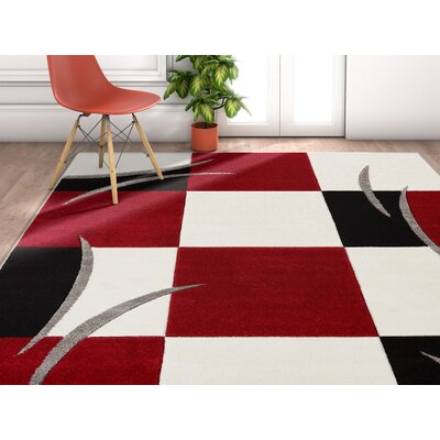 Freeman Traditional Red/Ivory Area Rug Rug Size: Rectangle 710 x 910