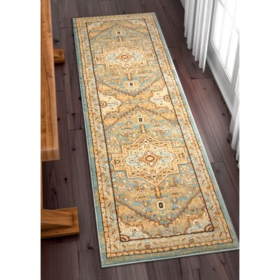 Marone Traditional Medallion Light Blue Area Rug Rug Size: Runner 27 x 96