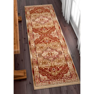 Marone Traditional Medallion Red Area Rug Rug Size: Runner 27 x 96