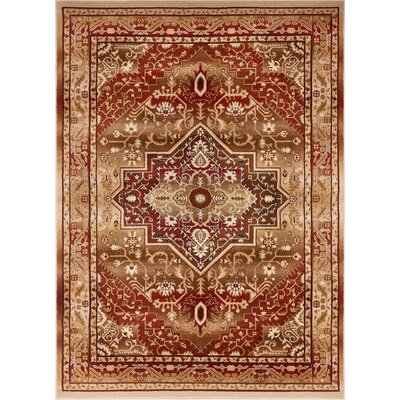 Marone Traditional Medallion Red Area Rug Rug Size: Rectangle 53 x 73