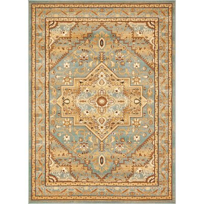Marone Traditional Medallion Light Blue Area Rug Rug Size: Rectangle 53 x 73