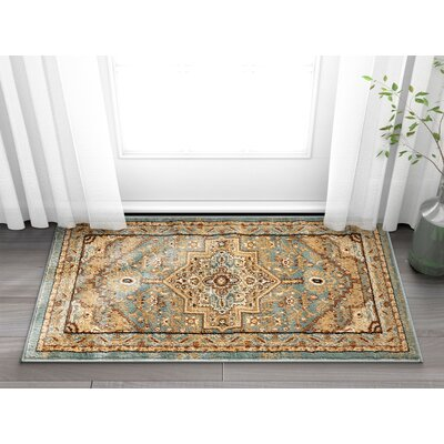 Marone Traditional Medallion Light Blue Area Rug Rug Size: Rectangle 23 x 311