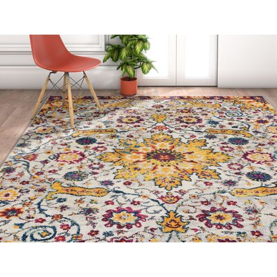 Binstead Wonderly Modern Persian Oriental Floral Gold Area Rug Rug Size: Rectangle 311 x 53