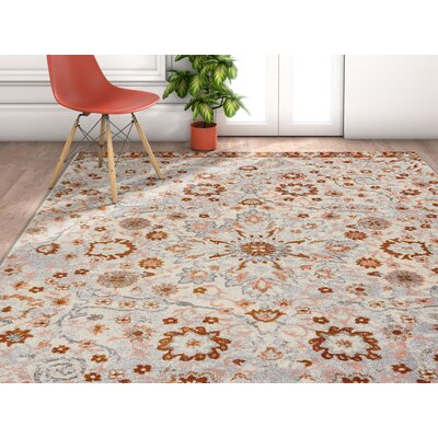 Binstead Wonderly Modern Persian Oriental Floral Gray Copper Area Rug Rug Size: Rectangle 53 x 73