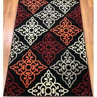 Ontonagon Trellis Black/Red Area Rug Rug Size: Runner 23 x 8