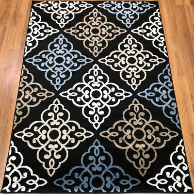 Ontonagon Trellis Black/Beige Area Rug Rug Size: Rectangle 5 x 7