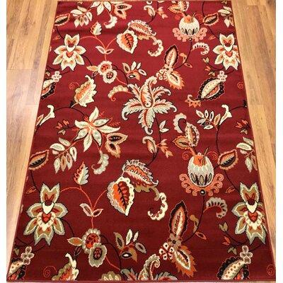 Ontonagon Oriental Red/Beige Area Rug Rug Size: Rectangle 5 x 7