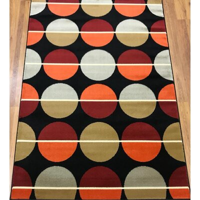 Stremme Geometric Black/Red Area Rug Rug Size: Rectangle 5 x 7