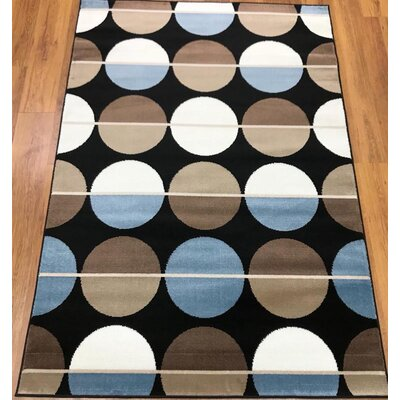 Stremme Geometric Black/Blue Area Rug Rug Size: Rectangle 8 x 10