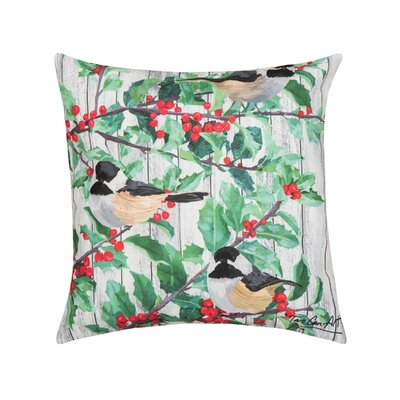 Fergerson Holly and Bird Indoor/Outdoor Throw Pillow
