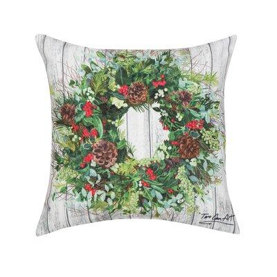 Fergerson Christmas Wreath Indoor/Outdoor Throw Pillow