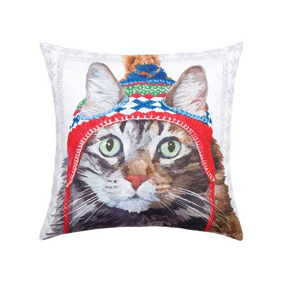 Feltman Hat Cat Indoor/Outdoor Throw Pillow