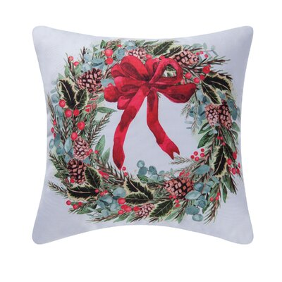 Fergerson Holly Berry Wreath Indoor/Outdoor Throw Pillow