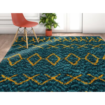 Olszewski Blue/Orange Area Rug Rug Size: Rectangle 53 x 73