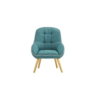 Draeger Tufted Upholstered Armchair Upholstery: Blue