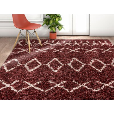 Olszewski Maroon/White Area Rug Rug Size: Rectangle 2 x 3
