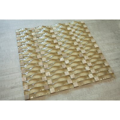 3D Bridge Random Sized Mixed Material Mosaic Tile in Orrange