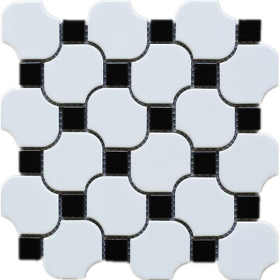Halibon with Dot Random Sized Porcelain Mosaic Tile in White/Black
