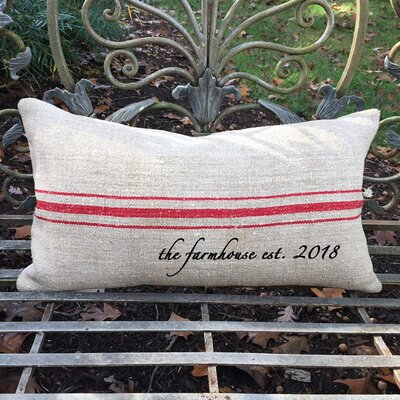 Farmhouse Established Year French Grain Sack Pillow Color: Red Stripe