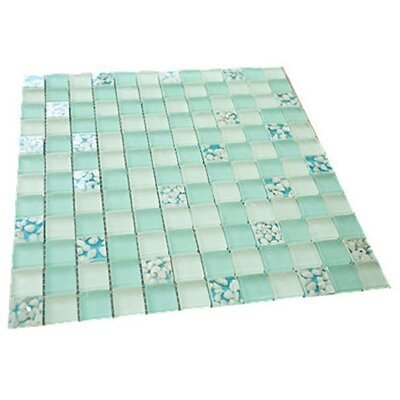 1 x 1 Mixed Material Mosaic Tile in Turquoise