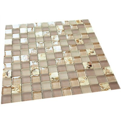1 x 1 Mixed Material Tile in Pink/Gold