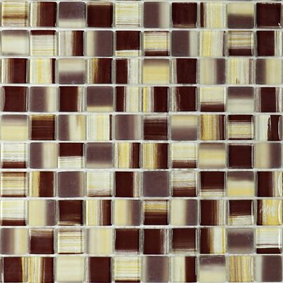 1 x 1 Glass Tile in Brown/Beige