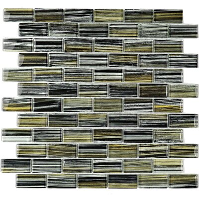 1 x 2 Glass Mosaic Tile in Green/Gray